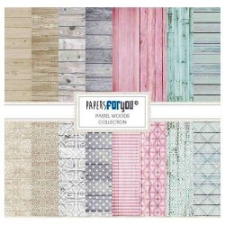 Set 12 Hj. papel Scrap FOR YOU 30,5x30,5 cm Madera Pastel
