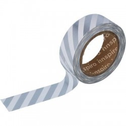 Washi Tape Metalizado Brillo 15 mm x 10 m Rayas Plata