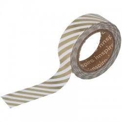 Washi Tape Metalizado Brillo 15 mm x 10 m Rayas Oro