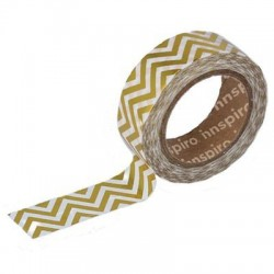 Washi Tape Metalizado Brillo 15 mm x 10 m Zig Zag Oro