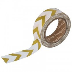 Washi Tape Metalizado Brillo 15 mm x 10 m Flechas Oro