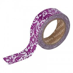Washi Tape Metalizado Brillo 15 mm x 10 m Arabesco Rosa