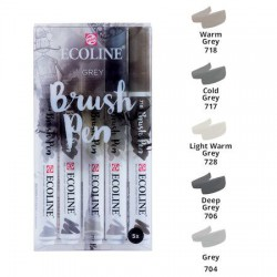 Set 5 Rotul. Ecoline Brush Pen Tonos Gris