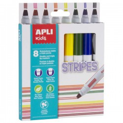 Estuche 8 Rotuladores STRIPES Apli Kids 16809