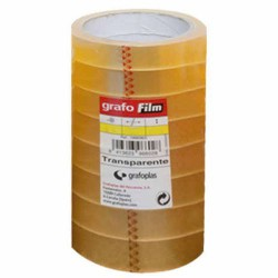 Pack 8 Cinta adhesiva Grafo Film 66 m x 19 mm Transparente