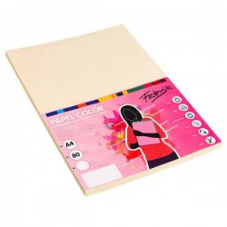 Pack 100 Hojas A4 papel 80 gr. Marfil Pastel