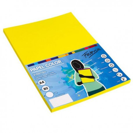 Pack 100 Hojas A4 papel 80 gr. Amarillo Intenso