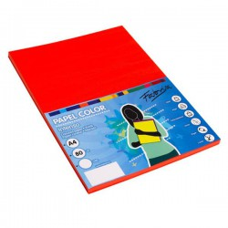 Pack 100 Hojas A4 papel 80 gr. Rojo Intenso