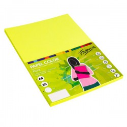 Pack 100 Hojas A4 papel 80 gr. Amarillo Fluor
