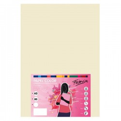 Pack 100 Hojas A3 papel 80 gr. Color Marfil Pastel