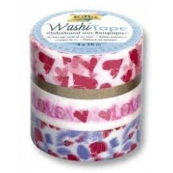PACK 4 WASHI TAPE CINTA PAPEL HEARTS