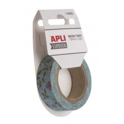 WASHI TAPE PAPEL 15 mm x 10 m FLORES LILAS