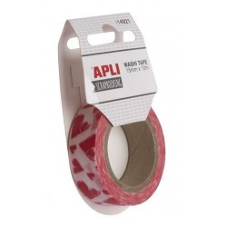 WASHI TAPE PAPEL 15 mm x 10 m LOVE CORAZON ROSA