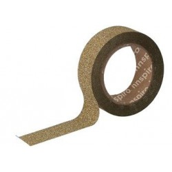 WASHI TAPE GLITTER CINTA 15 mm x 6,5 m ORO