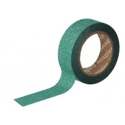WASHI TAPE GLITTER CINTA 15 mm x 6,5 m VERDE